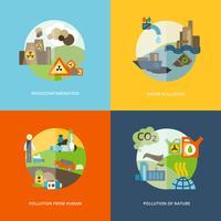 Ícones de poluição planas