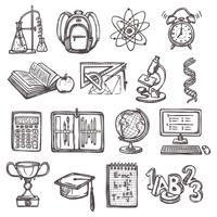 Ícones de esboço de educação escolar