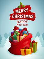 Cartaz de saco de Natal vetor