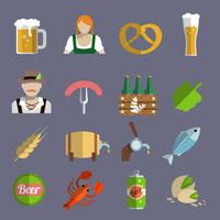 Ícones de cerveja definida plana