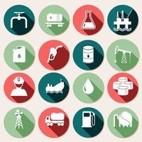 Conjunto de ícones da indústria de petróleo vetor