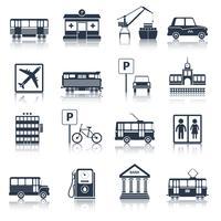 Cidade, infraestrutura, ícones, pretas vetor