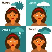 Personagem de desenho animado mulher emoções ícones composição vetor