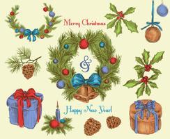 Esboço de decoração de Natal colorido vetor