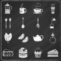 Conjunto de ícones de chá lousa