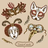 Conjunto de composição de máscara de carnaval