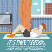 Cartaz de aptidão de treinamento de abdômen vetor
