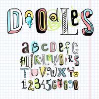Caderno de fonte de alfabeto Doodle vetor