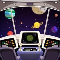Interior de desenhos animados de nave espacial