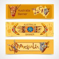 Austrália esboçar banners horizontais vetor