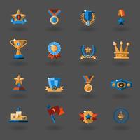 Conjunto de ícones plana de prêmio vetor