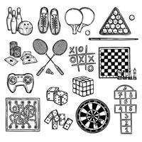 Ícones de esboço do jogo vetor