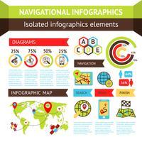 Conjunto de infográficos de navegação vetor
