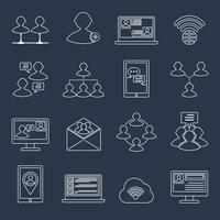 Contorno de conjunto de ícones de comunicação