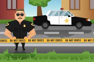 Policial e carro de patrulha vetor