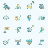 Linha plana de ícones de navegação móvel