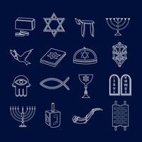 Conjunto de ícones do judaísmo esboço