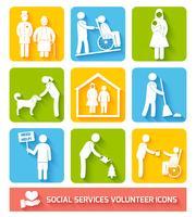 Ícones de serviços sociais definidos planas