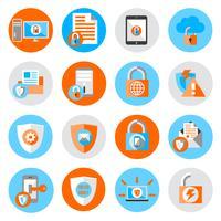 Ícones de segurança de proteção de dados