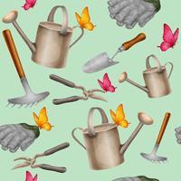 Padrão sem emenda de ferramentas de jardim