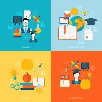 Ícones de educação planas