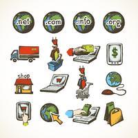 Ícones de compras na Internet vetor