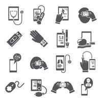 Ícones de saúde móvel conjunto preto