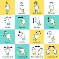 Linha plana de gestos de interface de toque