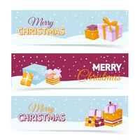 Banners de caixa de presente de Natal vetor