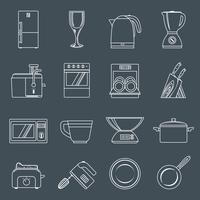 Contorno de ícones de aparelhos de cozinha