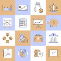 Conjunto de ícones de finanças linha plana