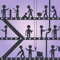Silhuetas de trabalhador de construção