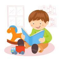 Menino, leitura, livro vetor
