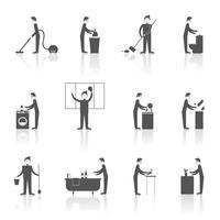 Conjunto de pessoas de limpeza