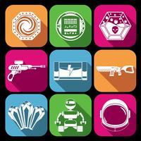 Ícones do jogo espacial branco