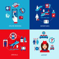Conjunto de ícones do aeroporto plana
