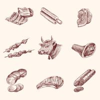 Esboço de ícones de carne vetor