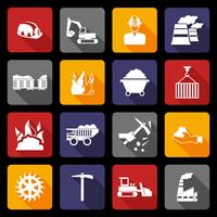 Ícones da indústria de carvão planas