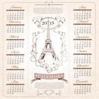 Calendário Retro para 2015 vetor