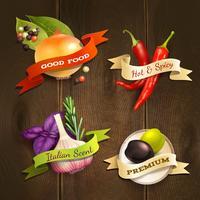 Conjunto de emblemas de ervas e especiarias