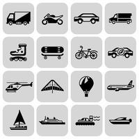 Transporte, ícones, pretas, jogo vetor