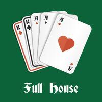 Casa cheia de mão de pôquer