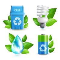 Ecologia e resíduos icon set vetor