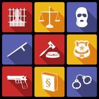 Lei e justiça ícones plana vetor