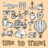 Conjunto de ícones de esboço de viagens vetor