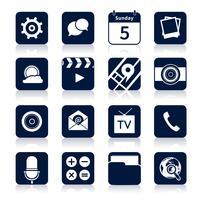 Ícones de aplicativos móveis pretos