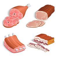 Conjunto de ícones decorativos de carne vetor