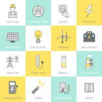 Linha plana de ícone de eletricidade
