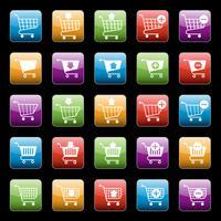Conjunto de botões de carrinho de compras vetor