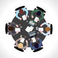 Vista superior da reunião de negócios vetor